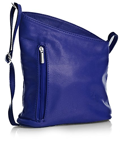 Big Handbag Shop kleine Damen Cross-Body-Umhängetasche aus echtem, weichem, italienischem Venenzi Leder (V114 Royal Blue) (Schuhe Echtes Italienische Leder)