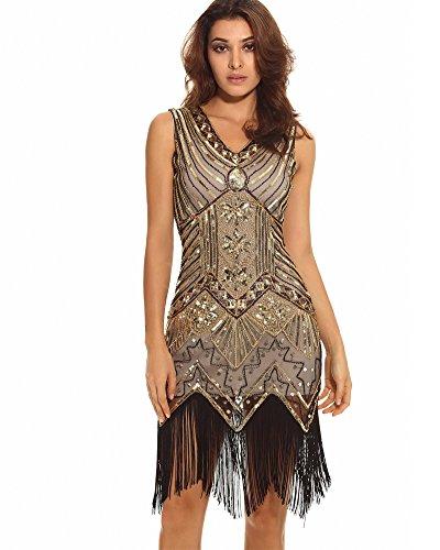 Whoinshop Damen 1920s Gatsby Retro Pailletten Troddel wulstiges gesäumtes Flapper Kleid Cocktailkleid (XL, (Flapper Schickes Kleid Kleider)