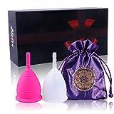 Asofty Coupe Menstruelle en Silicone Médical Réutilisable Cup Menstruelle - Lot de 2 avec Sac de Rangement Gratuit (Blanc & Rose)