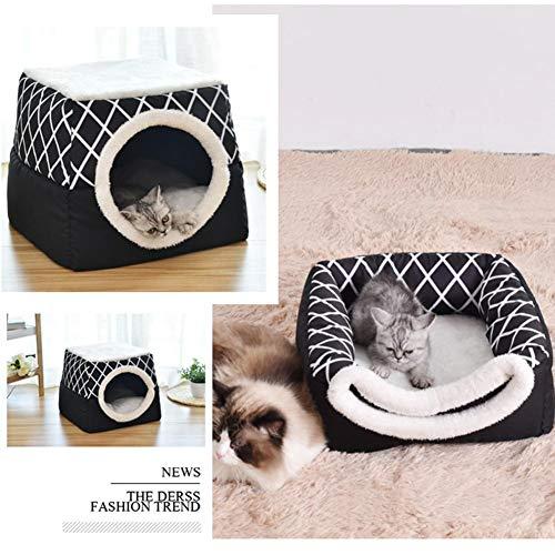 Einzigartiges 2-in-1 Katze Bed & Cat House, Cat Cube Mit Organic Cotton & Plüsch Sherpa Futter, Katzenbett, Katze Nest -