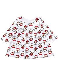 Qiusa Ropa Infantil para bebés, niños y niñas, Vestido Lindo Estampado de Santa de