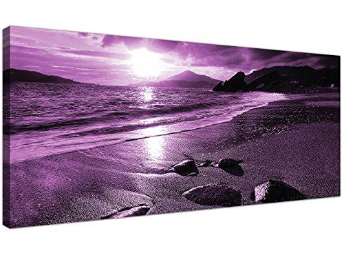 Cheap morado cuadros en lienzo de un atardecer en la playa–moderno pared arte de paisaje–1077–Wallfillers®