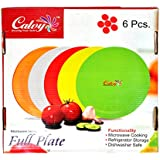 calvy quarter plate round Dishwasher safe Microwave safe plastic brown for all occcassion
