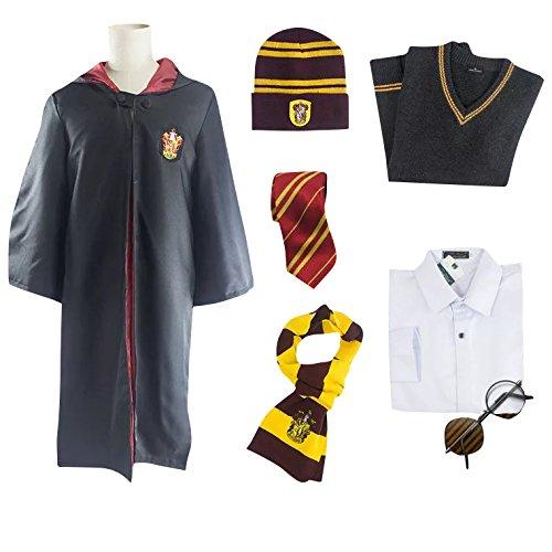 r Gryffindor Umhang Komplett-Set - Kostüm-Set für Damen Herren - Perfekt für Fasching, Karneval & Cosplay (Ron Weasley Halloween Kostüme)