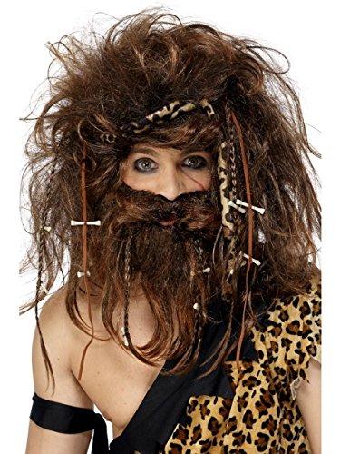 Smiffys Herren Perücke Höhlenmensch Neandertaler braun mit Bart Karneval