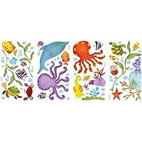RoomMates - Confezione di 60 adesivi da parete, motivo animali del mare, colore: Bianco/Multicolore