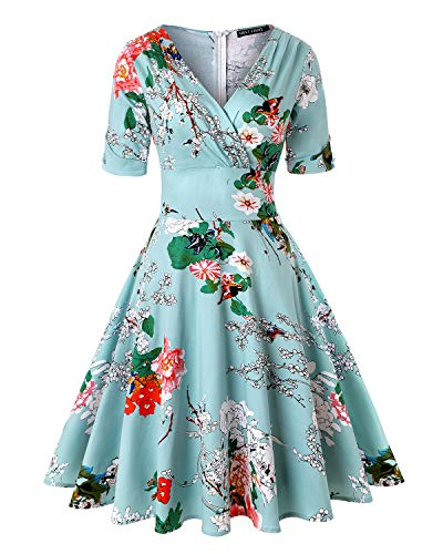 MINTLIMIT Damen Plus Größe Floral Halbe Ärmel Cocktail Party Schwingen Kleid (Floral Blau,Größe L)