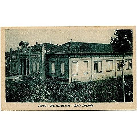 Primi '900 Massalombarda Asilo Infantile Esterno Giardini FP B/N Cartolina Postale