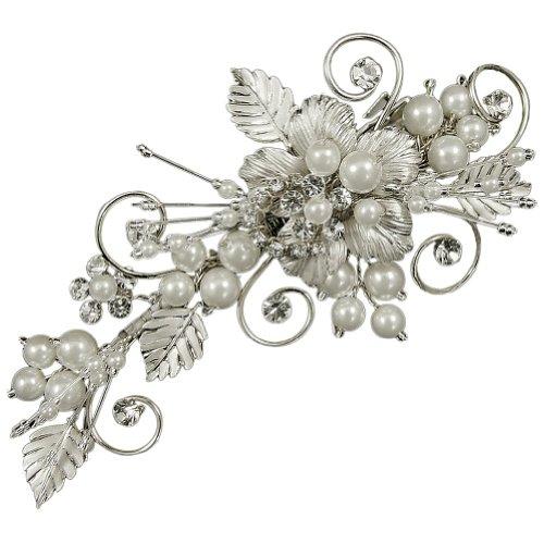 Perle Grace et feuilles de mariage Pince à cheveux 10 cm (or) (e2056hcg)