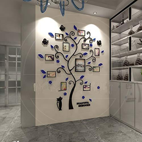 H.yina 3D Kristall Dreidimensional Fotorahmen Wandtattoo Acryl Kätzchen Bilderrahmen Wand Speicherbaum Schwarz Fotorahmen Collage Für Schlafzimmer Wohnzimmer Kinderzimmer Etc