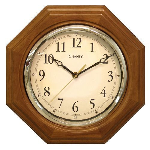 Chaney 46101A1 12 inch Octagon Wood Clock by Chaney Instruments -