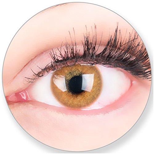 Glamlens Kontaktlinsen farbig braun ohne und mit Stärke - mit Kontaktlinsenbehälter.Sehr stark deckende natürliche braune farbige Monatslinsen Camelbraun 1 Paar weich Silikon Hydrogel 0.0 Dioptrien