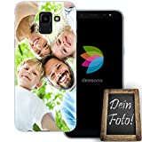 dessana Eigenes Foto Transparente Schutzhülle Handy Tasche Soft Case für Samsung Galaxy J6 (2018)