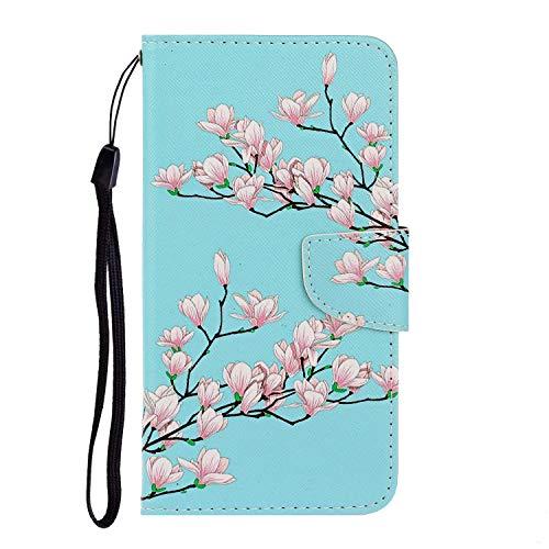 Nadoli für iPhone 11 Hülle,Rosa Blume Muster PU Leder Magnetisch Flip Brieftasche mit Handschlaufe Kartenslot Ständer Klapphülle für iPhone 11