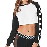 hkfv creativo único Deisgn Fashion para mujer impresión manga larga Casual Tops camiseta de espelta encantador y Show Sexy cuerpo delgado, mujer, S