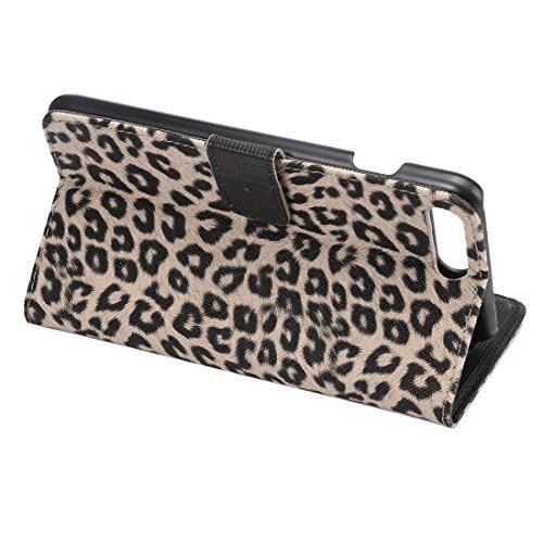 Hülle für iPhone 7 plus , Schutzhülle Für iPhone 7 Plus Leopard Textur Horizontale Flip Leder Tasche mit Halter & Card Slots & Wallet ,hülle für iPhone 7 plus , case for iphone 7 plus ( Color : Brown  Yellow