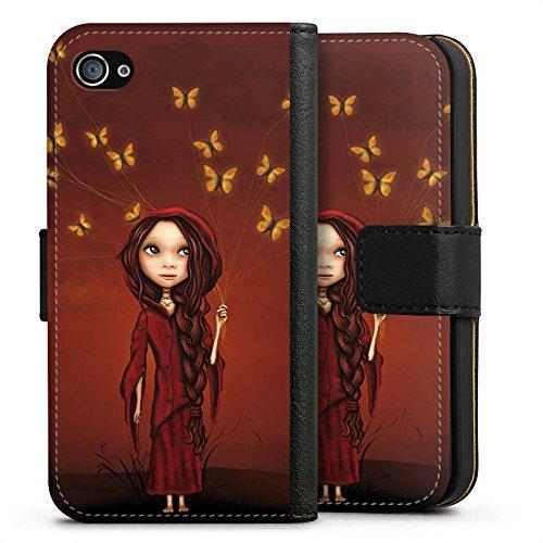 Apple iPhone X Silikon Hülle Case Schutzhülle Schmetterlinge Mädchen Traumwelt Sideflip Tasche schwarz