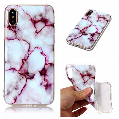 iPhone X Hülle, Voguecase Silikon Schutzhülle / Case / Cover / Hülle / TPU Gel Skin für Apple iPhone X(Marmor/Teppich) + Gratis Universal Eingabestift Marmor Serie -Fuchsie