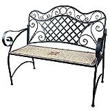 dszapaci Sitzbank Garten Metall Mosaik Gartenbank 2 Sitzer Gartenmöbel Bank Parkbank Eisen mit Rückenlehne für draußen oder Balkon (Mosaik-01)