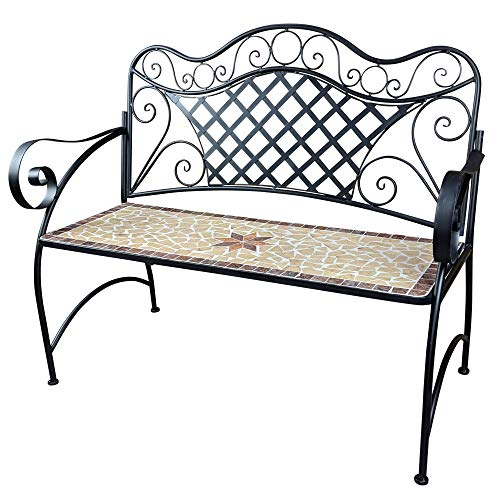 Panca da giardino Mosaico Panca da giardino Panca da giardino a 2 posti Panca da giardino con schienale per esterno o balcone