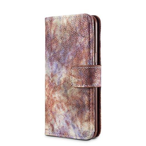 Wald Serie Bunte Paiting Litchi Textur Premium PU Leder Horizontale Flip Stand Brieftasche Case Cover mit Card Slots für Samsung Galaxy S8 ( Color : Yellow ) Violet