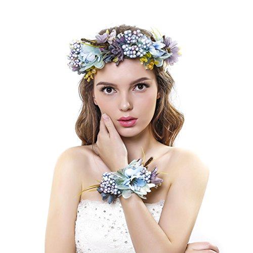 Ever Fairy® Frauen Mädchen Blumen Kranz Krone Haarband Girlande Floral Handgelenk Band Set für Hochzeit Gr. Einheitsgröße, blau