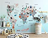 REAGONE Custom Wallpaper Furniture Decoration Mural Hand Painted Cartoon World Animals Map Kids Room Mural Photo 3D Wallpaper,150X105 Cm (59.1 By 41.3 In)