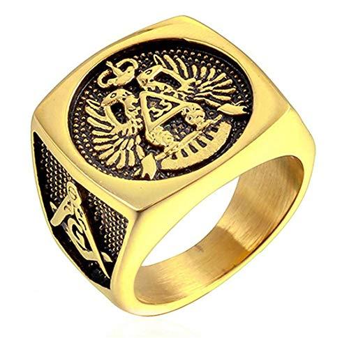 XCXZM Retro freimaurerischen AG Logo Doppel Eagles Gold Edelstahl Ringe für Herren