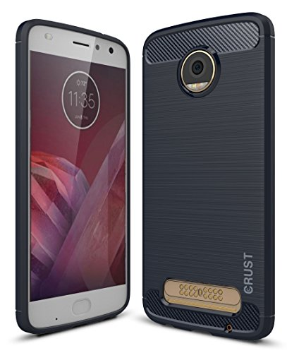 Crust CarbonX Brushed Metal Carbon Fiber TPU Back Cover Case For Motorola Moto Z Play, Shock Proof Slim Armor - (Midnight Blue)