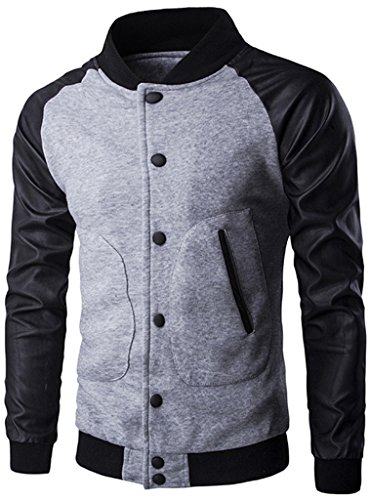 Whatlees Unisex Hip Hop Urban Basic Bomberjacke MA-1 Freizeit Baseballjacken Frühling Raglan shirts mit Kunstleder arm B137-LightGrey-S (Herren Raglan-Ärmel)