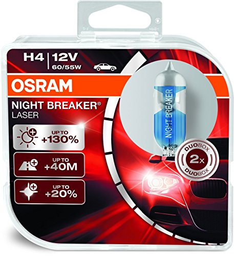Osram H4 Laser Night Breaker Duo Box 64193NBL-HCB Light (60/55W, 12V, 2 Bulbs)  available at amazon for Rs.1199