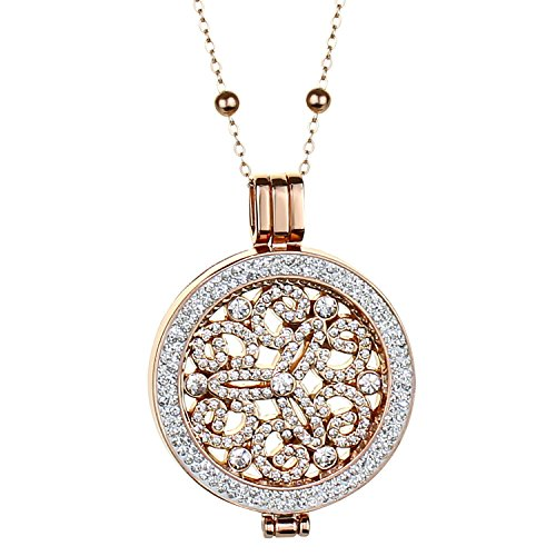 Cubic Zirconia Lockets and Coins With Beaded Necklace - Gold, Silver and Rose Gold Necklace