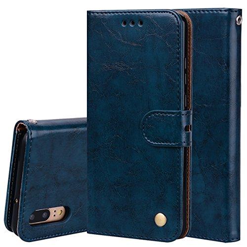 Nadoli Leder Hülle für Huawei P20 Lite,Retro Ölwachs Premium Pu Leder Magnetverschluß Ständer Klapptasche Kartenfäche Flip Schutzhülle Tasche Brieftasche -