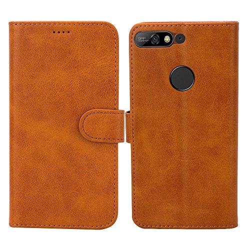 Eastcoo Kompatibel Huawei Y7 2018 Hülle PU Leder Folio Flip Case Dünn Premium klappbares Cover Tasche Mit Standfunktion Magnetverschluss Kartenfach Wallet Handyhülle (Khaki)