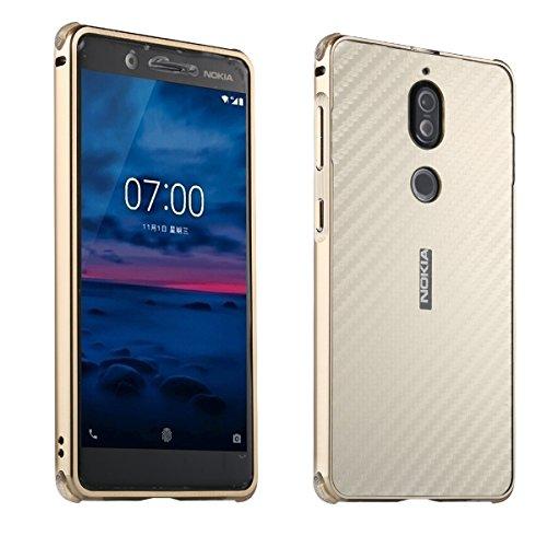 Nokia 7 Carbon Fiber Look Kohlefaser Optik FederLeicht Hülle Bumper Cover Schutz Tasche Schale Hardcase für Nokia 7, Gold