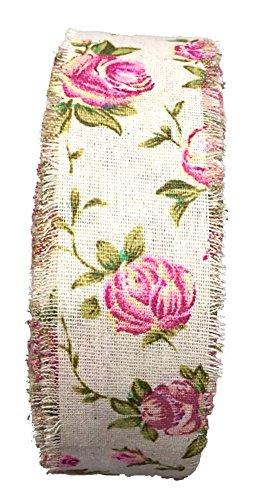 fundiy Vintage Rose Blumen Muster Leinen bänderrand Hochzeit Party Dekoration Natural Sackleinen Jute Jute Stoff Rolle (Weihnachten Für Kostüme Recycling)