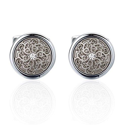 Silber Rund Retro Muster Manschettenknöpfe Klassisch Manschetten,Silver-M