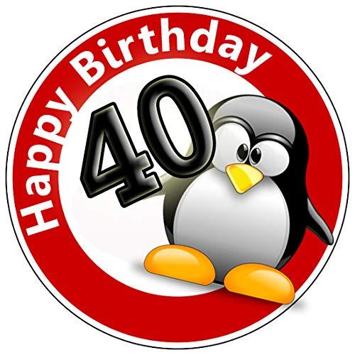 KnBo Tortenaufleger Tortenfoto Aufleger Foto Bild Geburtstag Happy Birthday Schild 40 Jahre Pinguin rund ca. 20 cm *NEU*OVP* (Happy Birthday Essbare Kuchen Bilder)