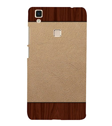 printtech Wooden Leather Pattern Back Case Cover for vivo V3Max