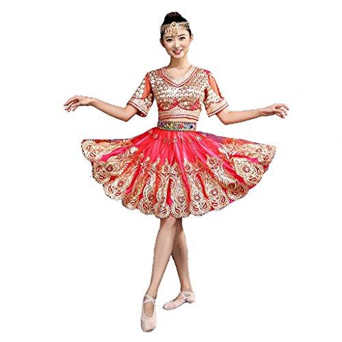 Verkauf Für Indischer Tanz Kostüm - Wgwioo Erwachsener weiblicher indischer Tanz kurzer kleidrock öffnungsdruck Stickerei Sequins Diamond modern Nation Klassische bühne aufführungen kostüme chor Gruppe Gruppe Team Outfit, red, XL