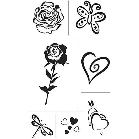 Rayher 2859200sello de silicona, transparente, corazón + Rose, tarjeta de 2–6cm, SB 7diseños
