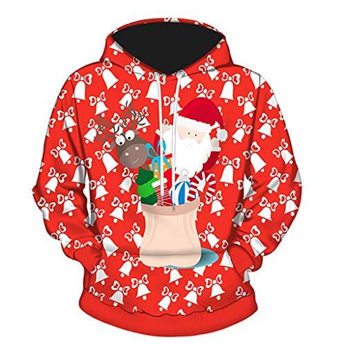 Preisvergleich Produktbild Tianwlio Damen Lässige Langarmshirt Hoodie Pullover Männer 3D Weihnachten Drucken Langarm Paare Hoodies Bluse Sweatshirts rot XL