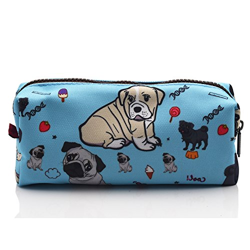 Cute Pug Dog Pencil Case Students Canvas Pen Bag Pouch stationery Case Makeup Cosmetic Bag (Blue) (Valentine Jungen Stofftier)