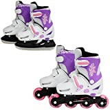 SK8 Zone Girls Pink 2in1 Roller Blades Inline Skates Adjustable Size Childrens Kids Pro Combo Multi Ice Skating Boots Shoes New (Medium 13-3 (31-34 EU)) - Sk8 Zone By Eurotrade - amazon.co.uk