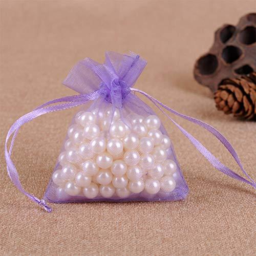 Yiwa Organza-Beutel mit Kordelzug, für Schmuck, Perlen, Hochzeit, Süßigkeiten, 100 Stück, Hellviolett, 7x9cm