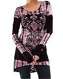 Minetom Übergröße Damen Vintage Blusen Gothic T-Shirts Gedruckt Lange Hemden Langarmshirts Rundhals Hemd Kleid Minikleid A-Linie Abnehmen Frühling Herbst Winter Lässig Täglich Rosa Violett DE 48