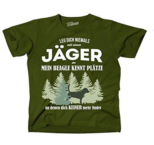 Siviwonder Unisex T-Shirt JÄGER BEAGLE Hund kennt Plätze niemand findet GRÜN Olive
