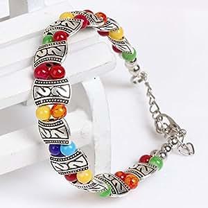 Perles Colorees De Style Ethnique Tibetain En Alliage d'argent Bracelet Femmes