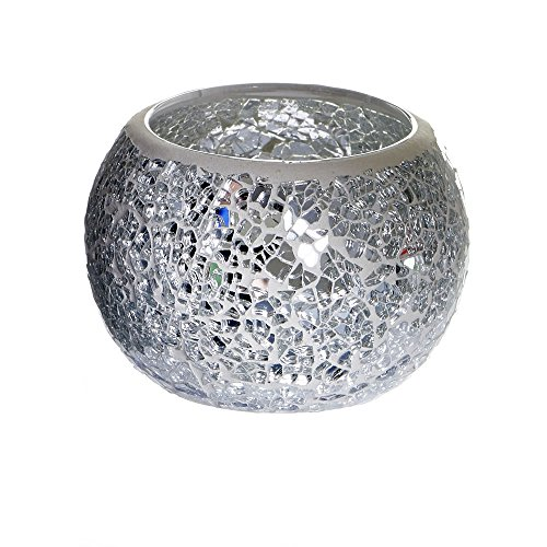 Home Treats Mosaic Votive Candle Holders (Silver)