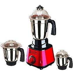 SilentPowerSunmeet Red Color 550Watts Mixer Juicer Grinder with 3 Jar (1 Large Jar, 1 Medium Jar and 1 Chuntey Jar)